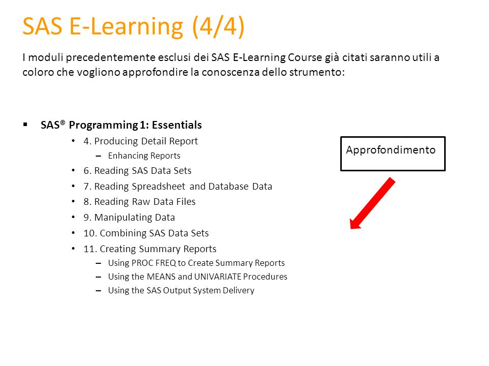 SAS E-Learning (4/4)