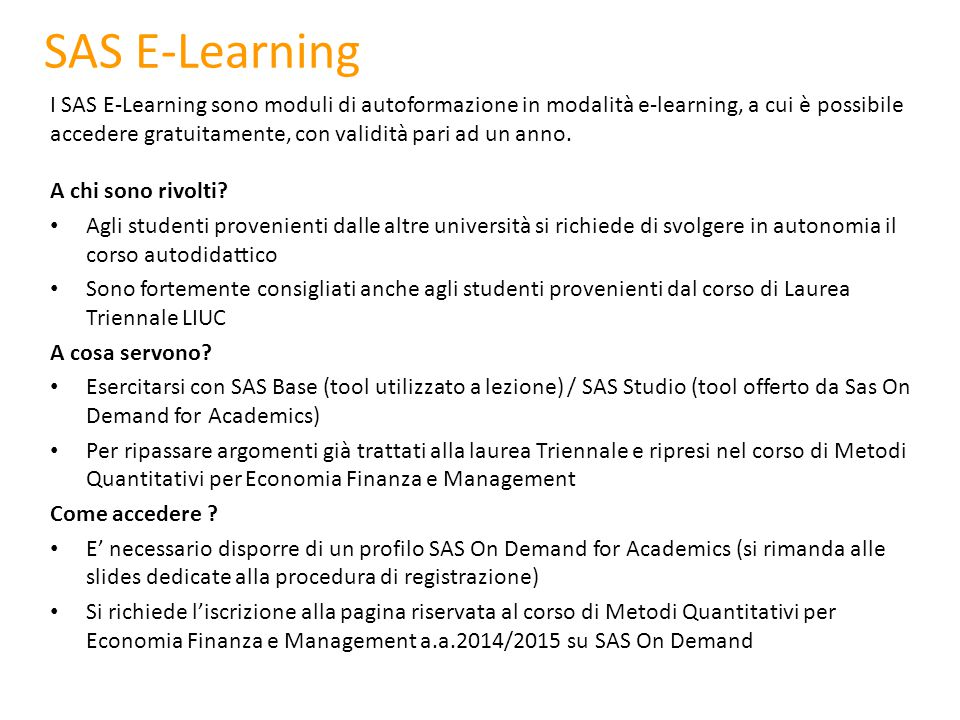 SAS E-Learning