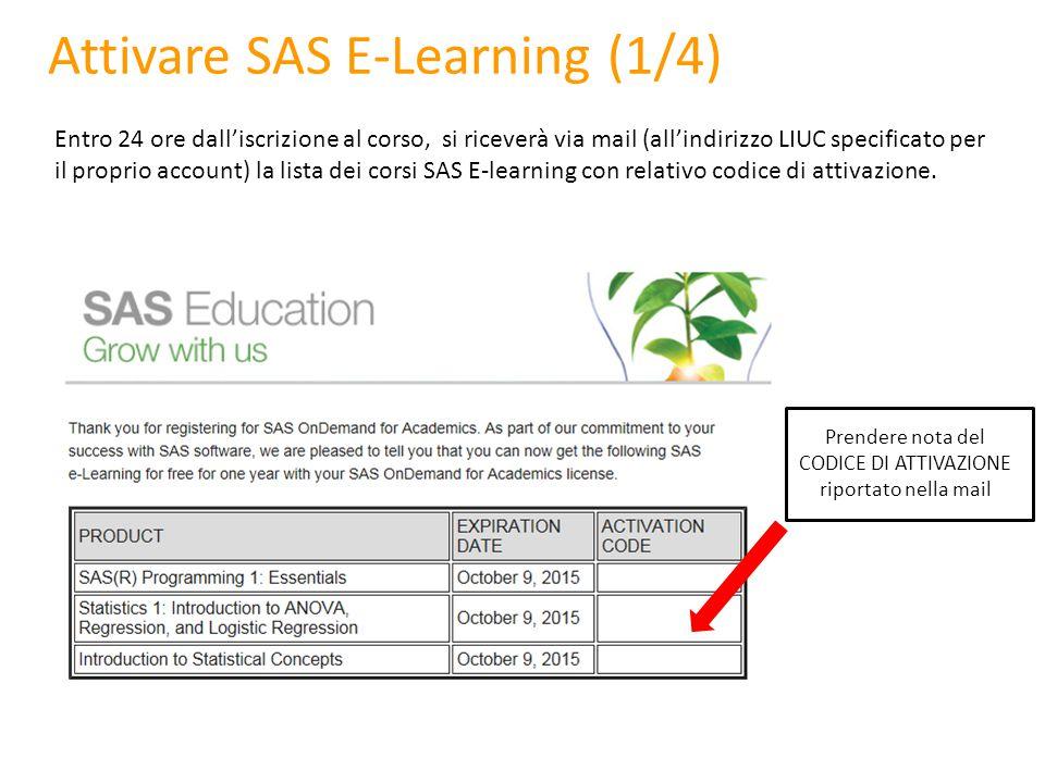 Attivare SAS E-Learning (1/4)