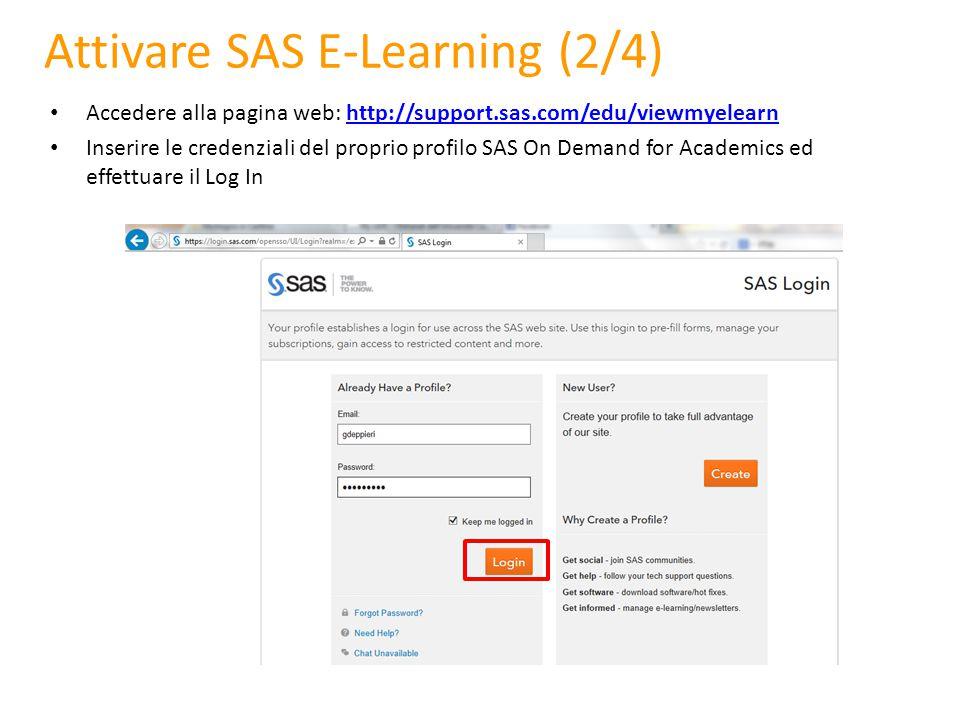 Attivare SAS E-Learning (2/4)