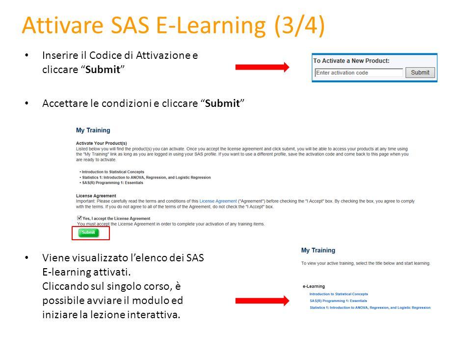 Attivare SAS E-Learning (3/4)