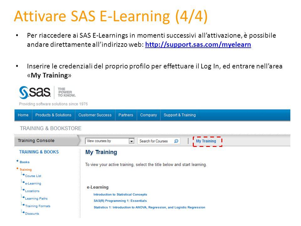 Attivare SAS E-Learning (4/4)