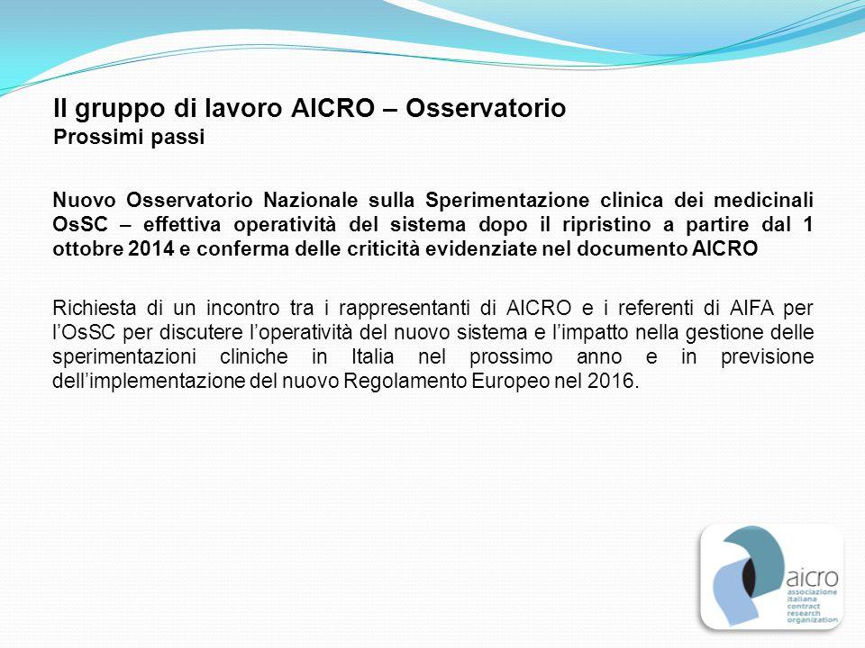 Il gruppo di lavoro AICRO – Osservatorio