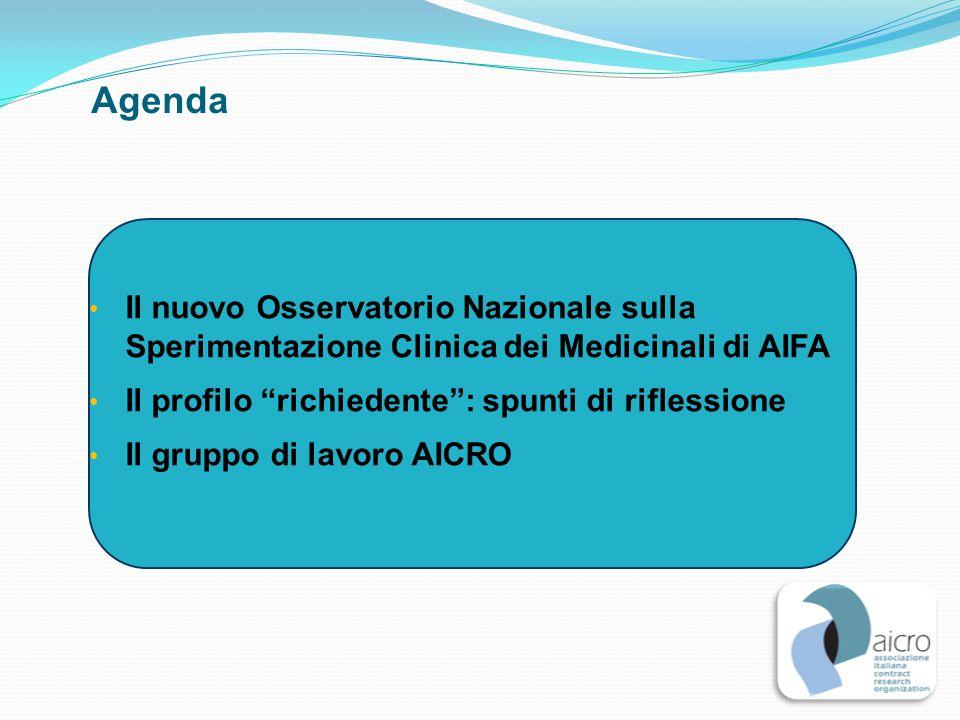 Agenda Il nuovo Osservatorio Nazionale sulla Sperimentazione Clinica dei Medicinali di AIFA. Il profilo richiedente : spunti di riflessione.