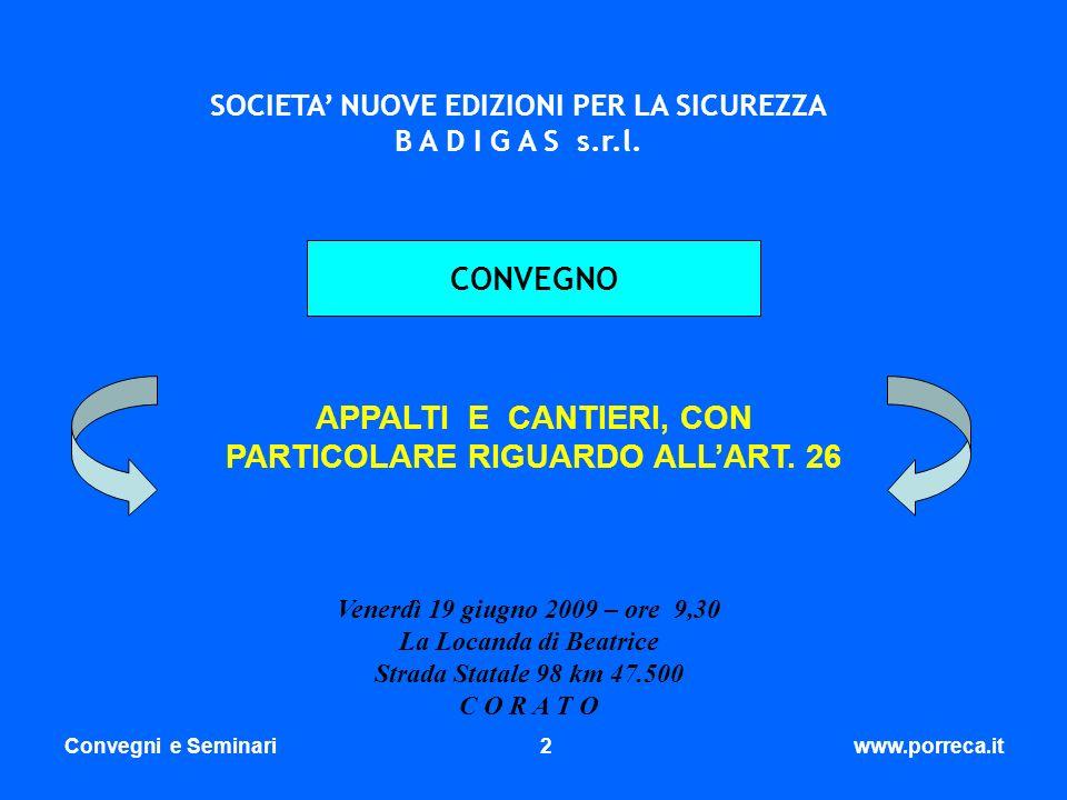 APPALTI E CANTIERI, CON PARTICOLARE RIGUARDO ALL'ART. 26
