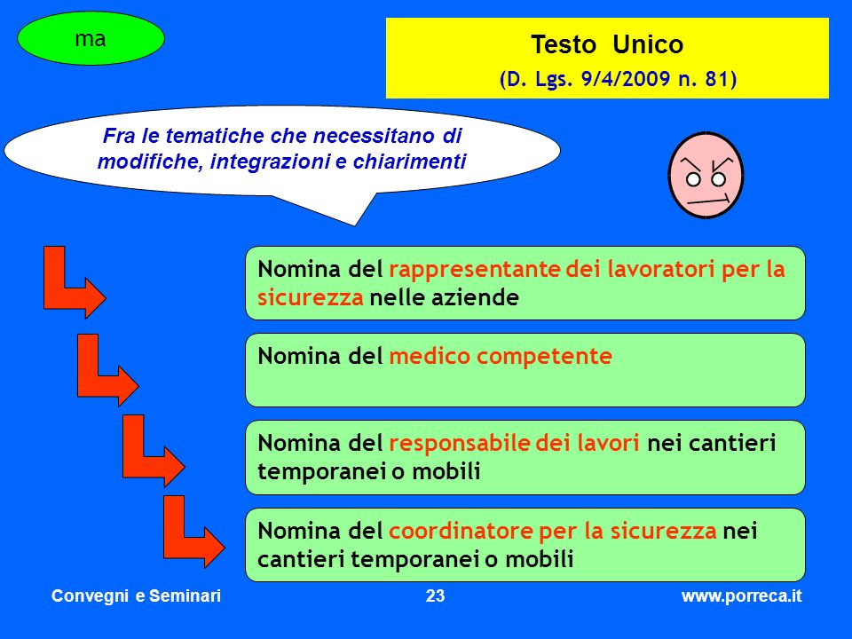 Testo Unico (D. Lgs. 9/4/2009 n. 81) ma