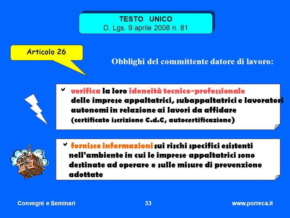 TESTO UNICO D. Lgs. 9 aprile 2008 n. 81