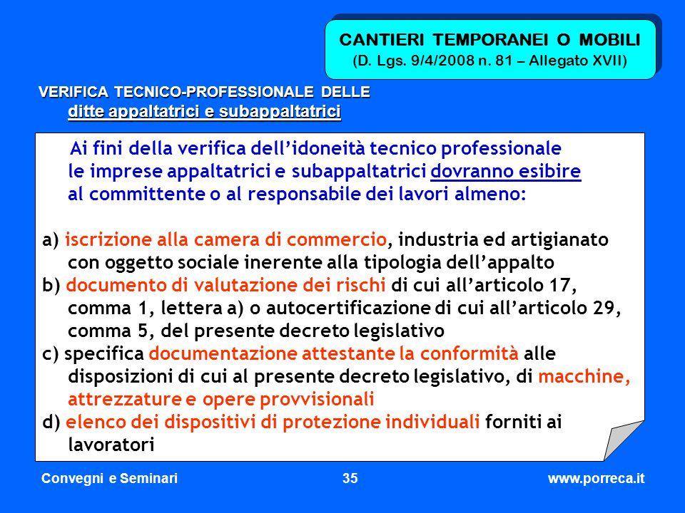 CANTIERI TEMPORANEI O MOBILI (D. Lgs. 9/4/2008 n. 81 – Allegato XVII)