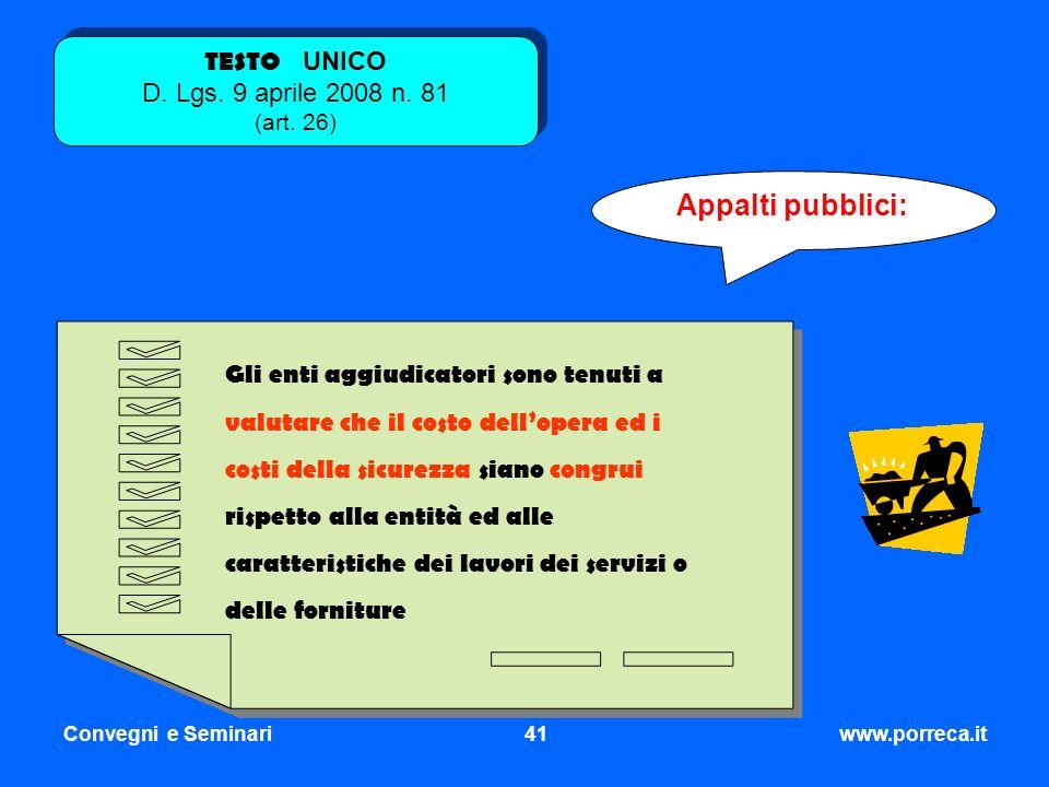 TESTO UNICO D. Lgs. 9 aprile 2008 n. 81 (art. 26)