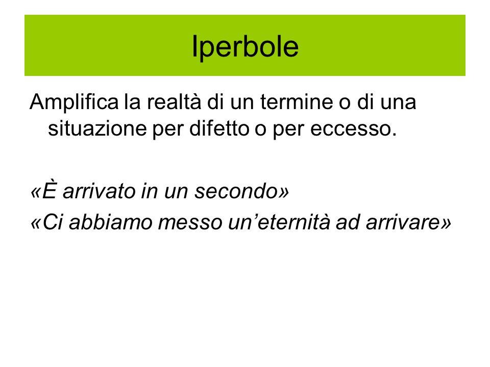 Iperbole Amplifica la realtà di un termine o di una situazione per difetto o per eccesso. «È arrivato in un secondo»