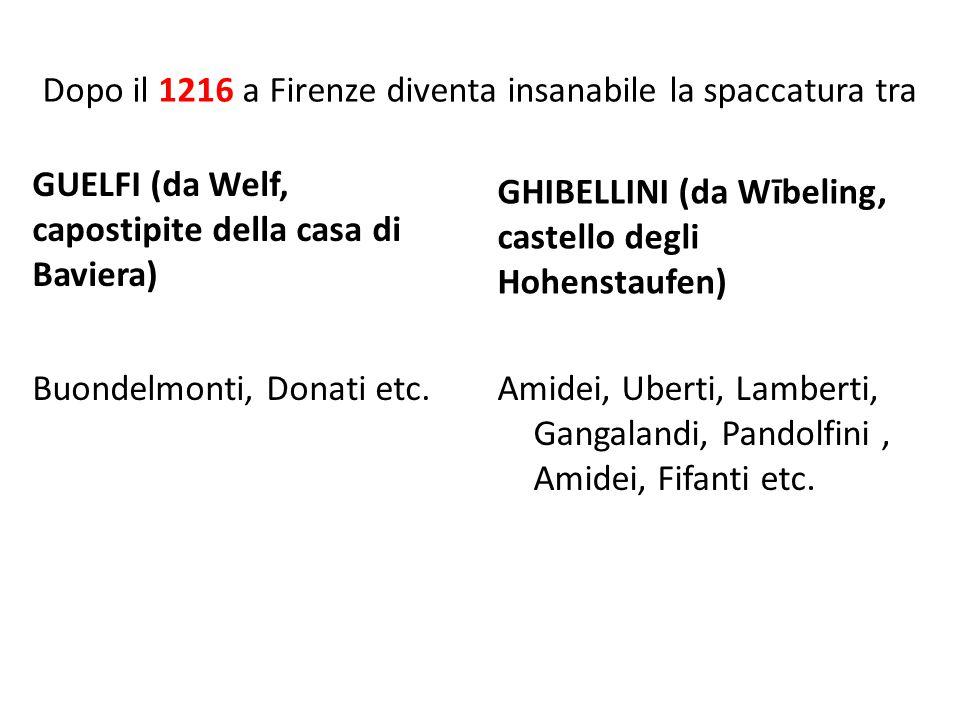 Dopo il 1216 a Firenze diventa insanabile la spaccatura tra