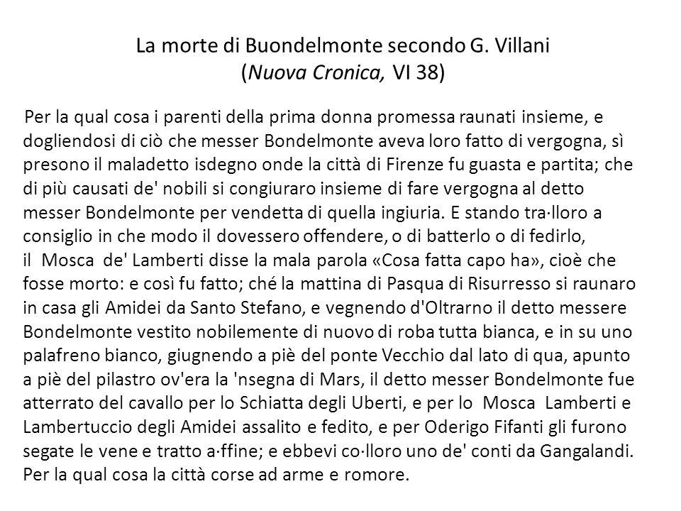 La morte di Buondelmonte secondo G. Villani (Nuova Cronica, VI 38)