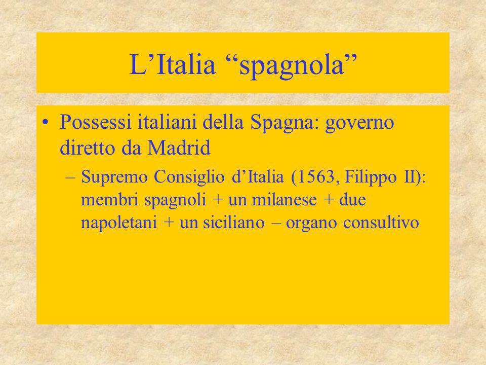 L'Italia spagnola Possessi italiani della Spagna: governo diretto da Madrid.