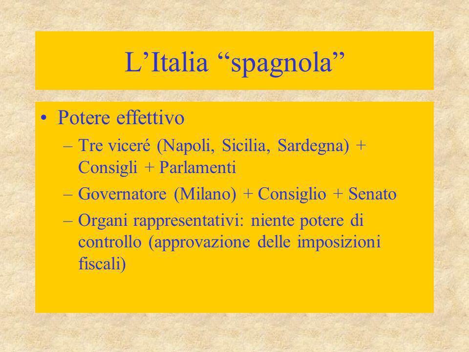L'Italia spagnola Potere effettivo