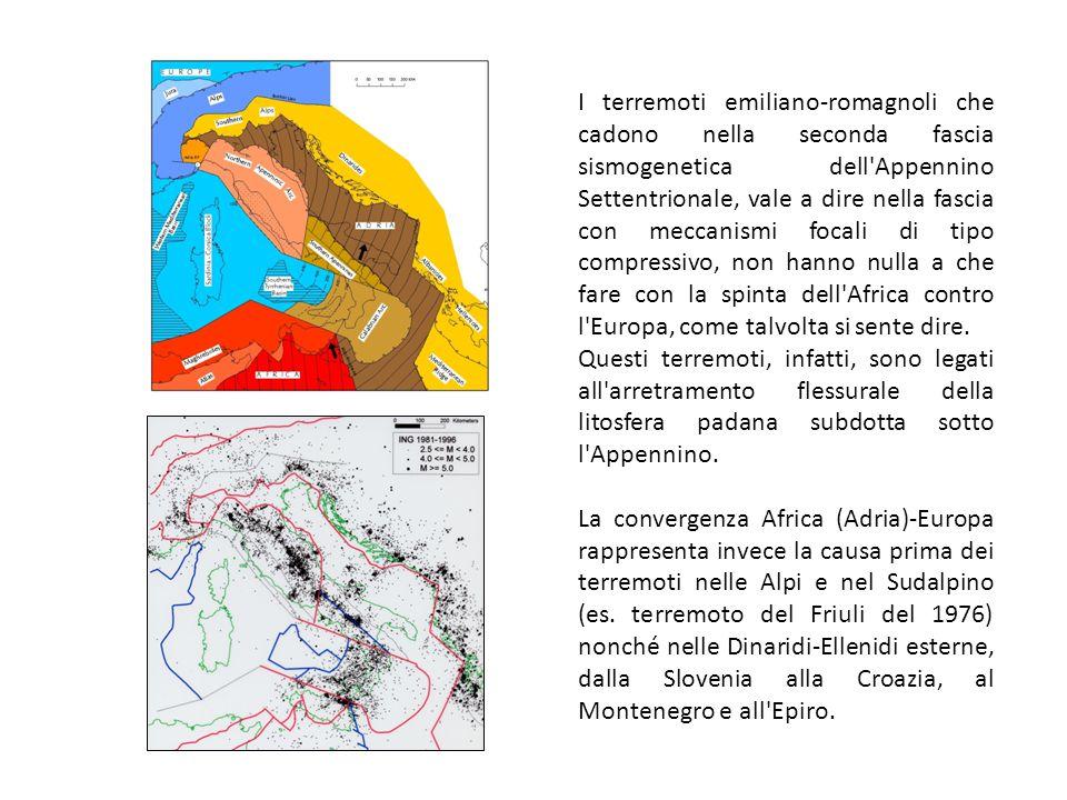 I terremoti emiliano-romagnoli che cadono nella seconda fascia sismogenetica dell Appennino Settentrionale, vale a dire nella fascia con meccanismi focali di tipo compressivo, non hanno nulla a che fare con la spinta dell Africa contro l Europa, come talvolta si sente dire.