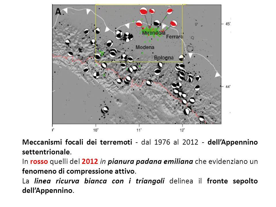 Meccanismi focali dei terremoti - dal 1976 al 2012 - dell'Appennino settentrionale.