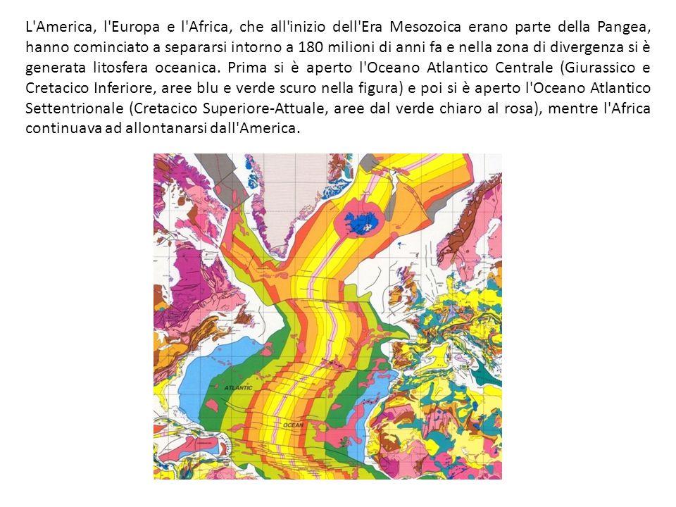 L America, l Europa e l Africa, che all inizio dell Era Mesozoica erano parte della Pangea, hanno cominciato a separarsi intorno a 180 milioni di anni fa e nella zona di divergenza si è generata litosfera oceanica.