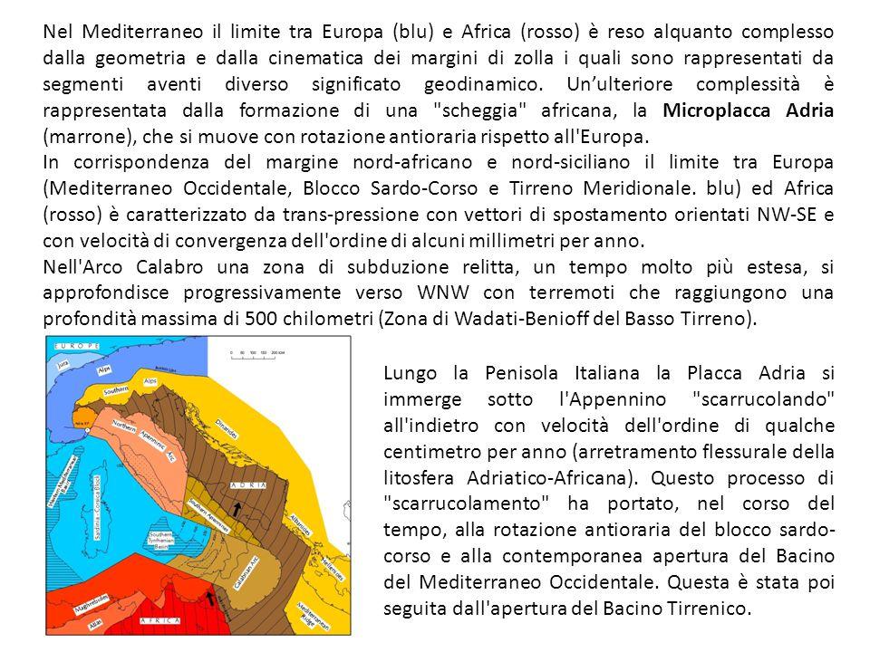 Nel Mediterraneo il limite tra Europa (blu) e Africa (rosso) è reso alquanto complesso dalla geometria e dalla cinematica dei margini di zolla i quali sono rappresentati da segmenti aventi diverso significato geodinamico. Un'ulteriore complessità è rappresentata dalla formazione di una scheggia africana, la Microplacca Adria (marrone), che si muove con rotazione antioraria rispetto all Europa.