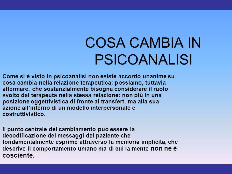 COSA CAMBIA IN PSICOANALISI