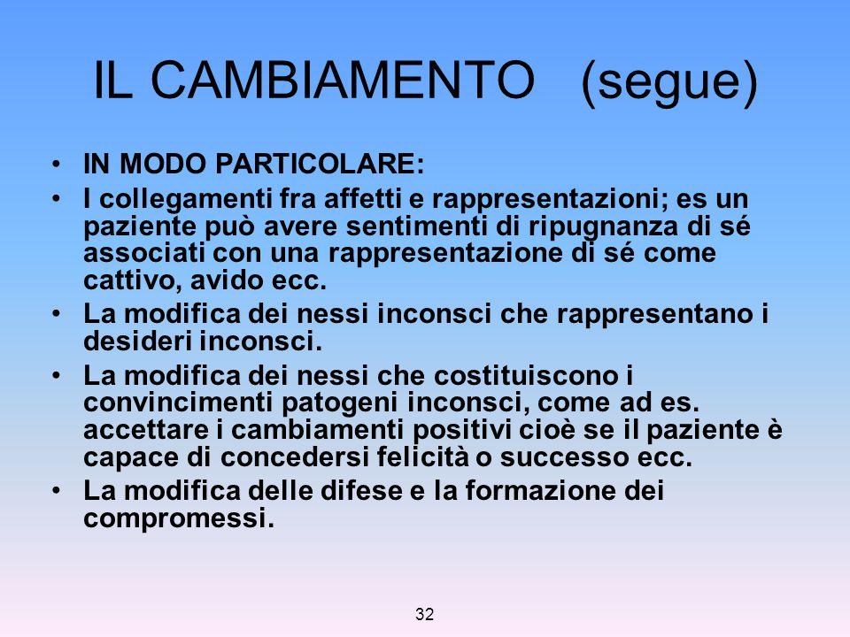 IL CAMBIAMENTO (segue)