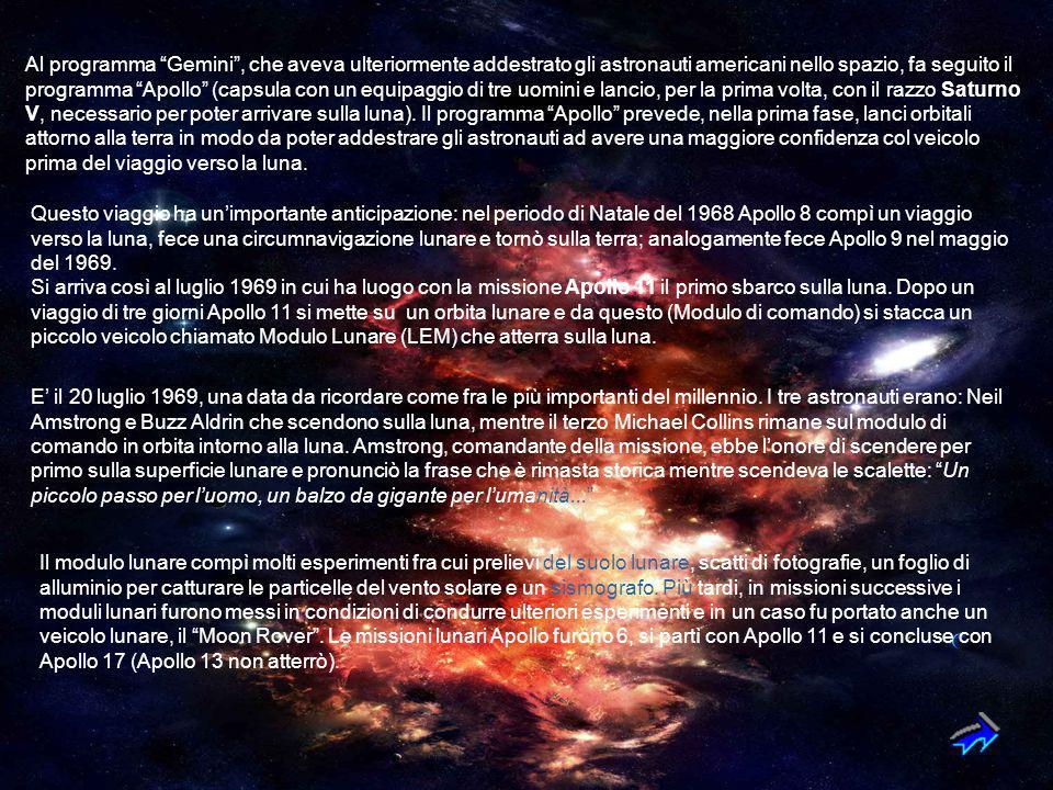 Al programma Gemini , che aveva ulteriormente addestrato gli astronauti americani nello spazio, fa seguito il programma Apollo (capsula con un equipaggio di tre uomini e lancio, per la prima volta, con il razzo Saturno V, necessario per poter arrivare sulla luna). Il programma Apollo prevede, nella prima fase, lanci orbitali attorno alla terra in modo da poter addestrare gli astronauti ad avere una maggiore confidenza col veicolo prima del viaggio verso la luna.
