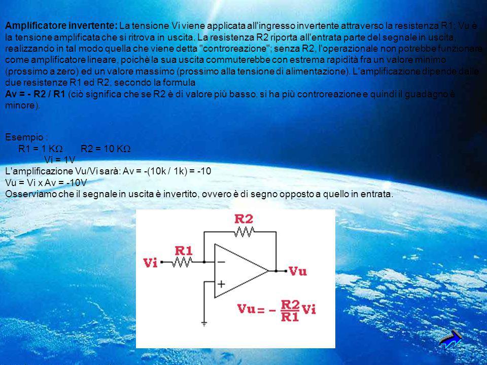 Amplificatore invertente: La tensione Vi viene applicata all ingresso invertente attraverso la resistenza R1; Vu è la tensione amplificata che si ritrova in uscita. La resistenza R2 riporta all entrata parte del segnale in uscita, realizzando in tal modo quella che viene detta controreazione ; senza R2, l operazionale non potrebbe funzionare come amplificatore lineare, poichè la sua uscita commuterebbe con estrema rapidità fra un valore minimo (prossimo a zero) ed un valore massimo (prossimo alla tensione di alimentazione). L amplificazione dipende dalle due resistenze R1 ed R2, secondo la formula Av = - R2 / R1 (ciò significa che se R2 è di valore più basso, si ha più controreazione e quindi il guadagno è minore).