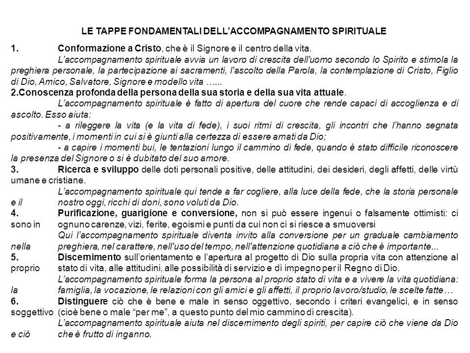 LE TAPPE FONDAMENTALI DELL'ACCOMPAGNAMENTO SPIRITUALE