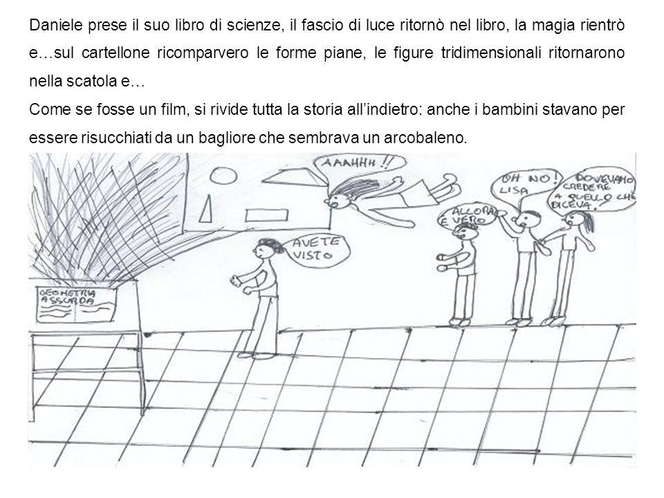 Daniele prese il suo libro di scienze, il fascio di luce ritornò nel libro, la magia rientrò e…sul cartellone ricomparvero le forme piane, le figure tridimensionali ritornarono nella scatola e…