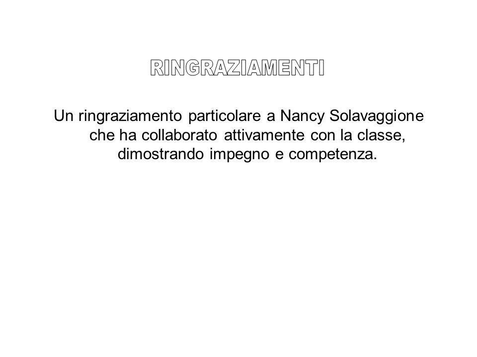 RINGRAZIAMENTI Un ringraziamento particolare a Nancy Solavaggione che ha collaborato attivamente con la classe, dimostrando impegno e competenza.