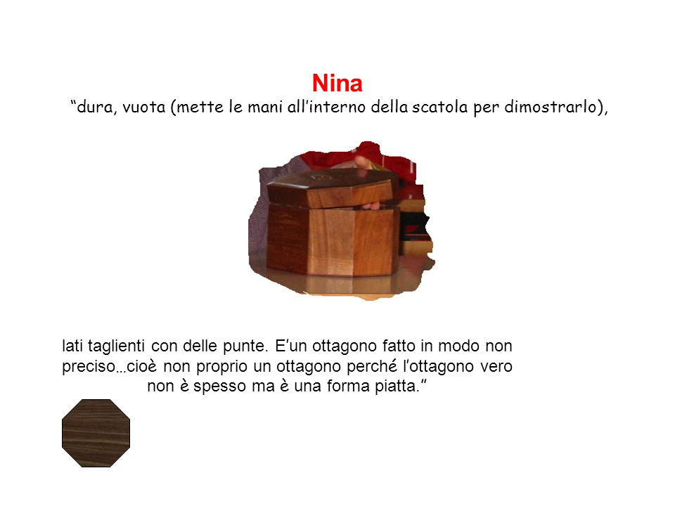 Nina dura, vuota (mette le mani all'interno della scatola per dimostrarlo),
