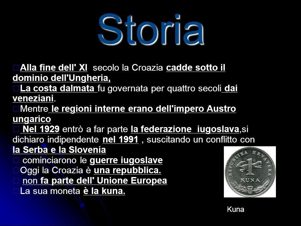 Storia Alla fine dell XI secolo la Croazia cadde sotto il dominio dell Ungheria, La costa dalmata fu governata per quattro secoli dai veneziani.