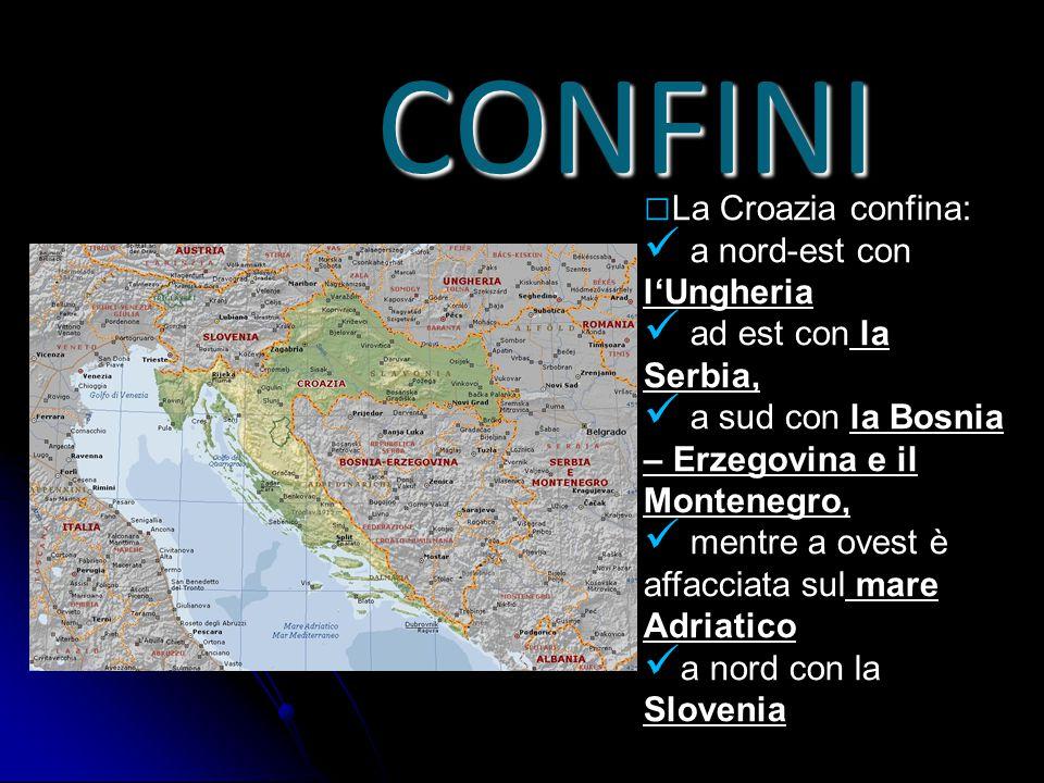 CONFINI La Croazia confina: a nord-est con l'Ungheria