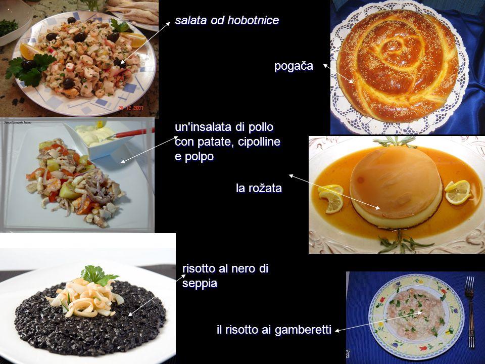 salata od hobotnice pogača. un insalata di pollo con patate, cipolline e polpo. la rožata. risotto al nero di seppia.