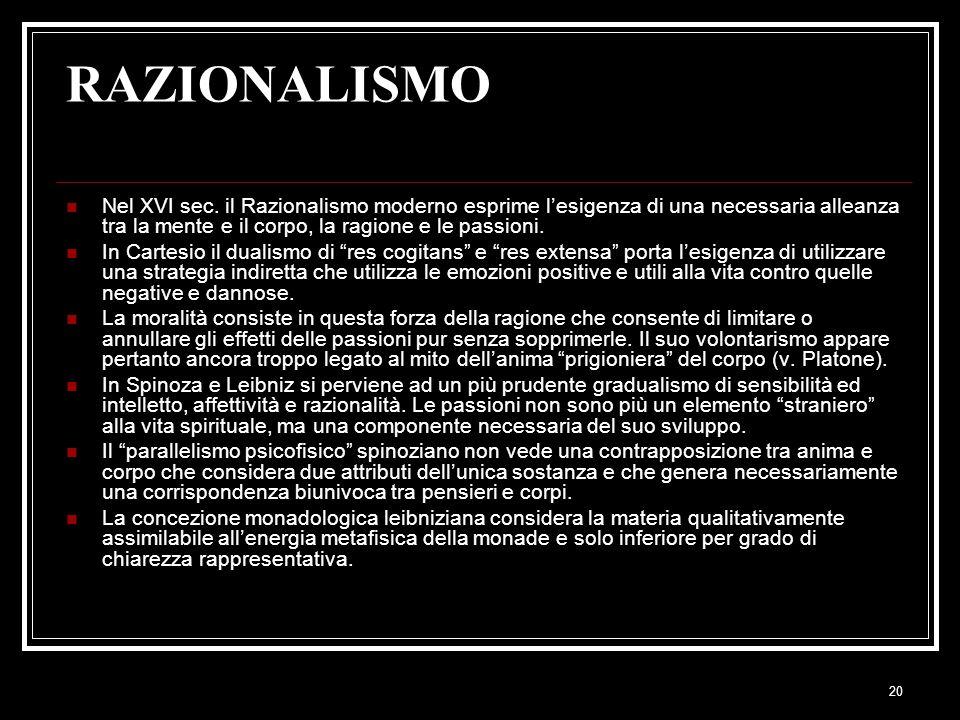 RAZIONALISMO Nel XVI sec. il Razionalismo moderno esprime l'esigenza di una necessaria alleanza tra la mente e il corpo, la ragione e le passioni.