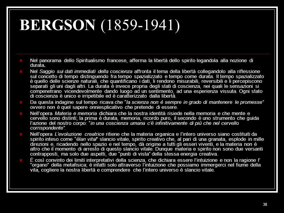 BERGSON (1859-1941) Nel panorama dello Spiritualismo francese, afferma la libertà dello spirito legandola alla nozione di durata.