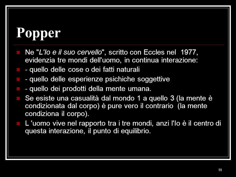 Popper Ne L Io e il suo cervello , scritto con Eccles nel 1977, evidenzia tre mondi dell uomo, in continua interazione: