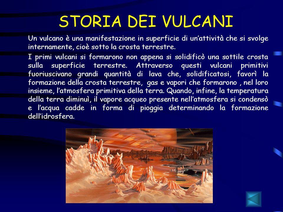 STORIA DEI VULCANI Un vulcano è una manifestazione in superficie di un'attività che si svolge internamente, cioè sotto la crosta terrestre.