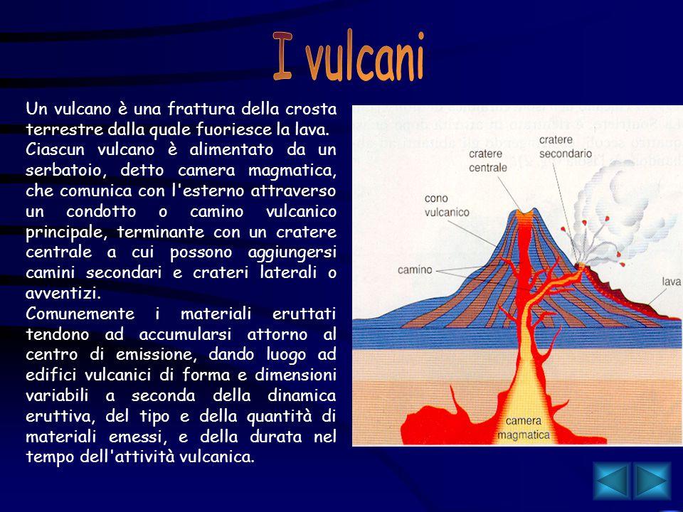 I vulcani Un vulcano è una frattura della crosta terrestre dalla quale fuoriesce la lava.