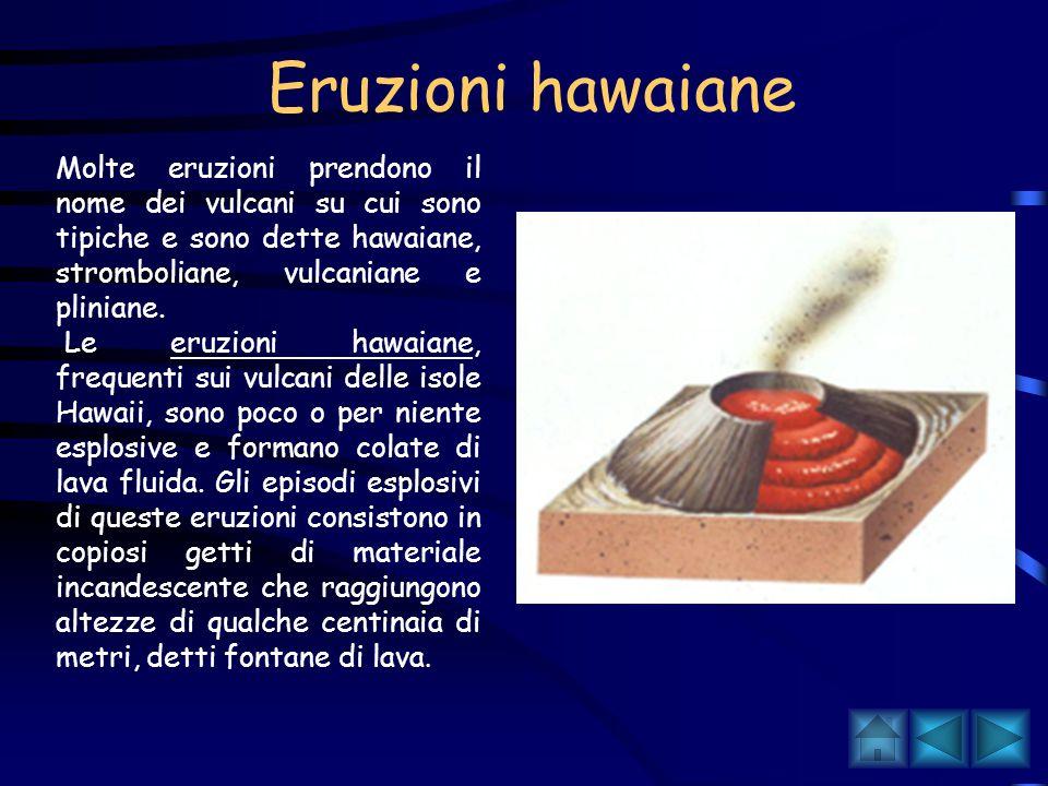 Eruzioni hawaiane Molte eruzioni prendono il nome dei vulcani su cui sono tipiche e sono dette hawaiane, stromboliane, vulcaniane e pliniane.