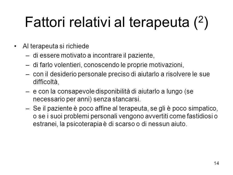 Fattori relativi al terapeuta (2)