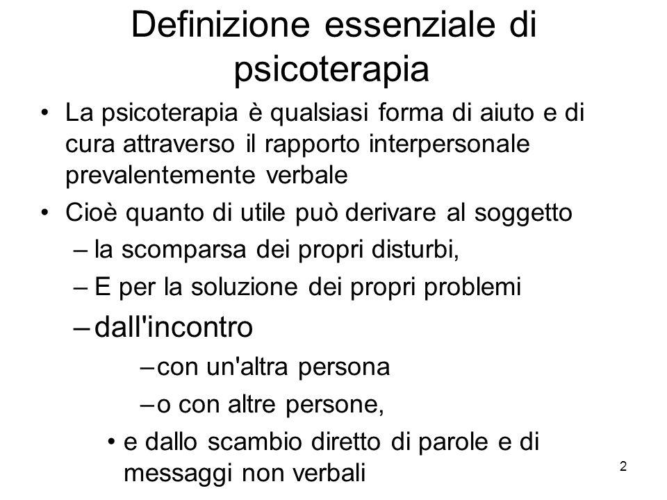 Definizione essenziale di psicoterapia