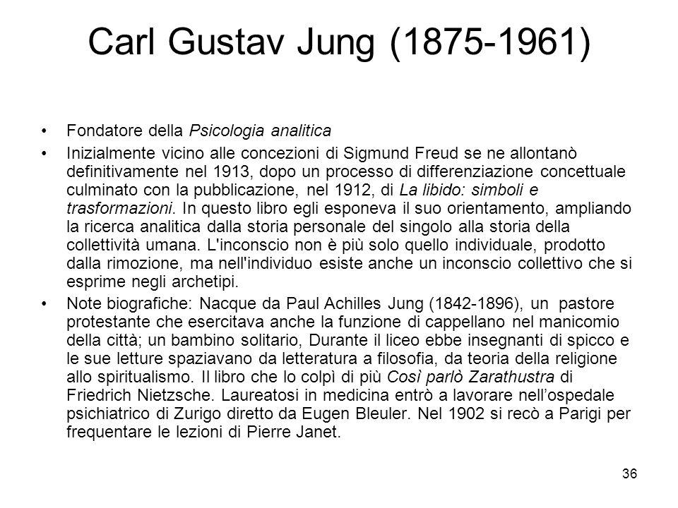 Carl Gustav Jung (1875-1961) Fondatore della Psicologia analitica