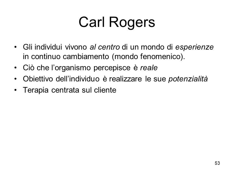 Carl Rogers Gli individui vivono al centro di un mondo di esperienze in continuo cambiamento (mondo fenomenico).