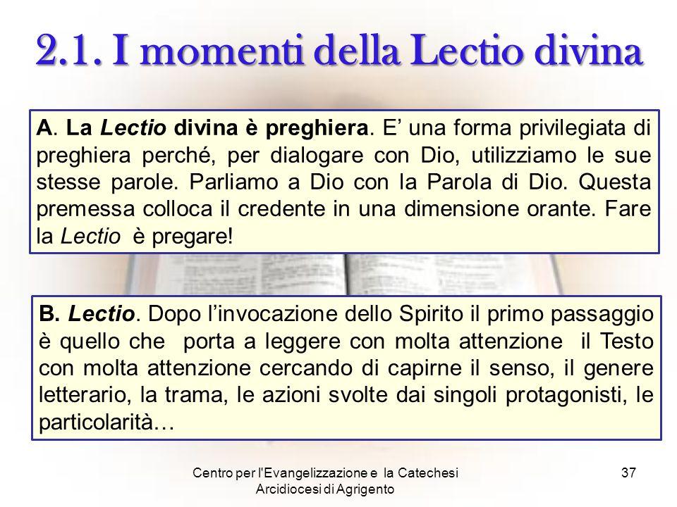 2.1. I momenti della Lectio divina