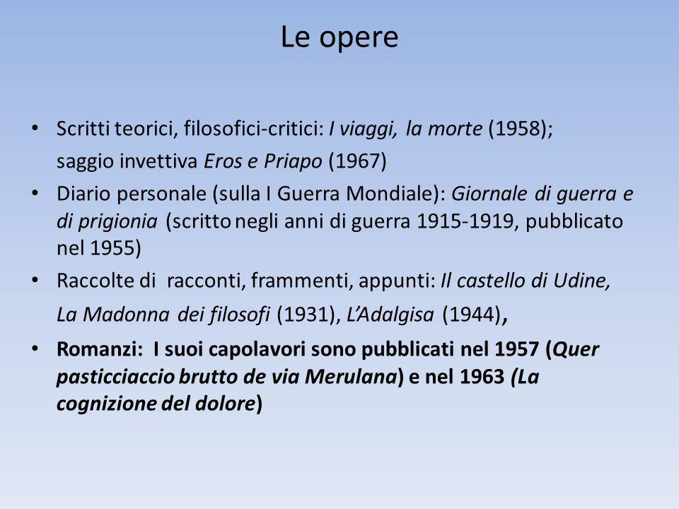 Le opere Scritti teorici, filosofici-critici: I viaggi, la morte (1958); saggio invettiva Eros e Priapo (1967)