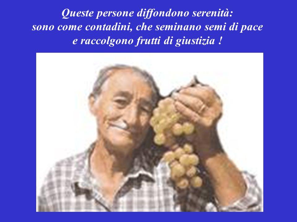 Queste persone diffondono serenità: sono come contadini, che seminano semi di pace e raccolgono frutti di giustizia !