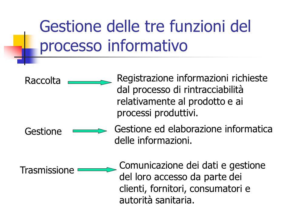 Gestione delle tre funzioni del processo informativo