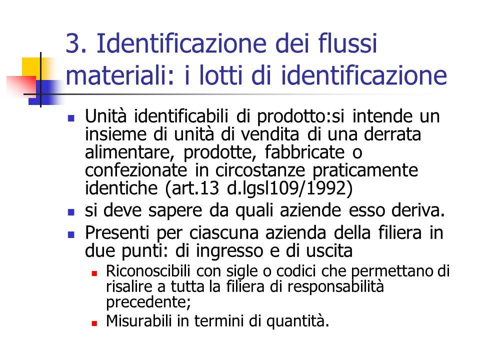 3. Identificazione dei flussi materiali: i lotti di identificazione