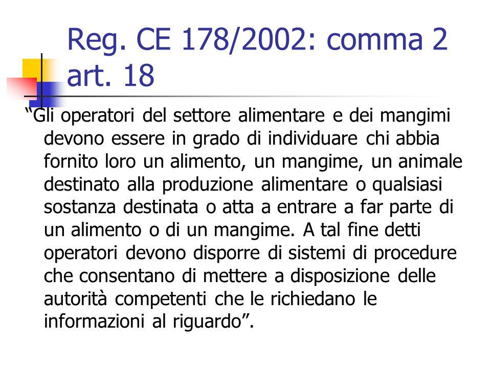 Reg. CE 178/2002: comma 2 art. 18