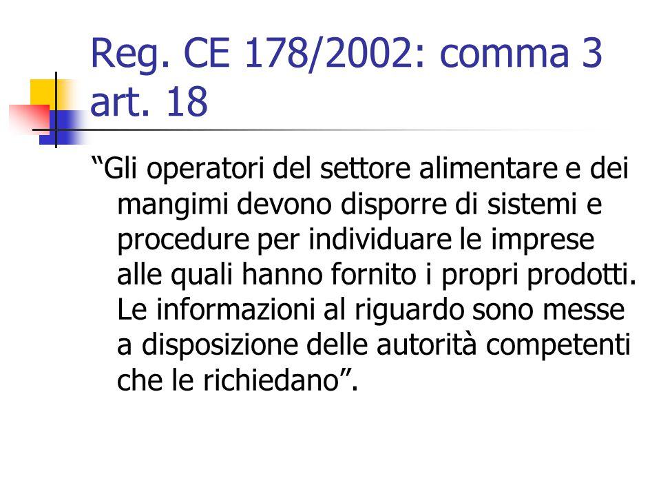 Reg. CE 178/2002: comma 3 art. 18